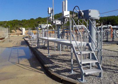 Plataformas metálicas de acceso a actuadores de válvulas