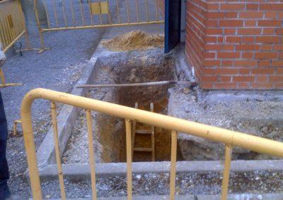 Recalce de cimentación en edificio de control